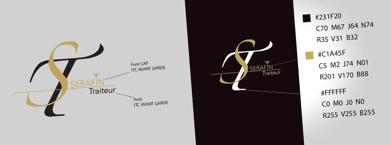 Charte graphique du logo de Serafin Traiteur