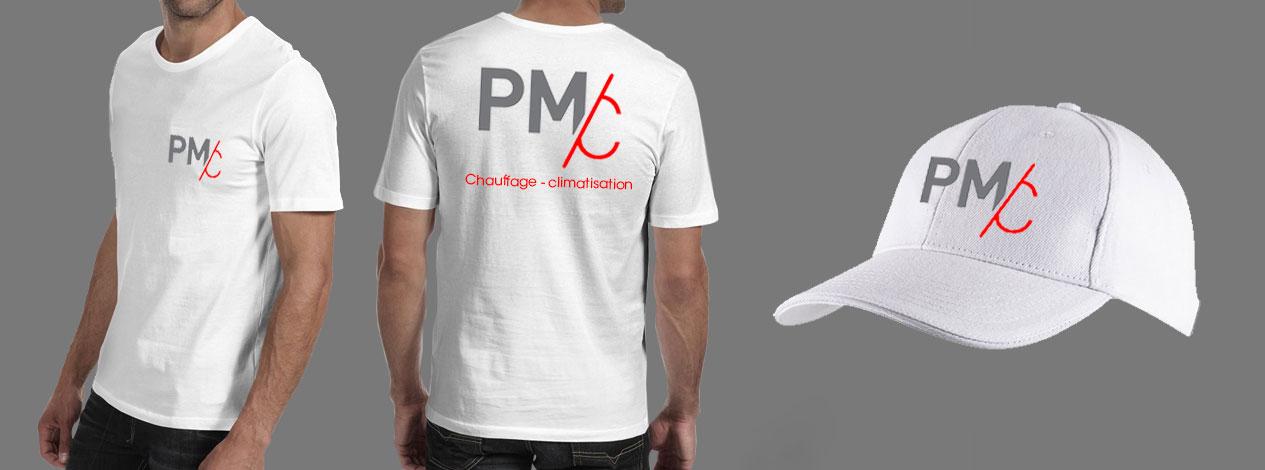 logo PMC imprimé sur T-shirts et casquette