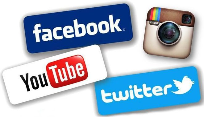 logos des réseaux sociaux facebook, YouTube, Twitter et Instagram