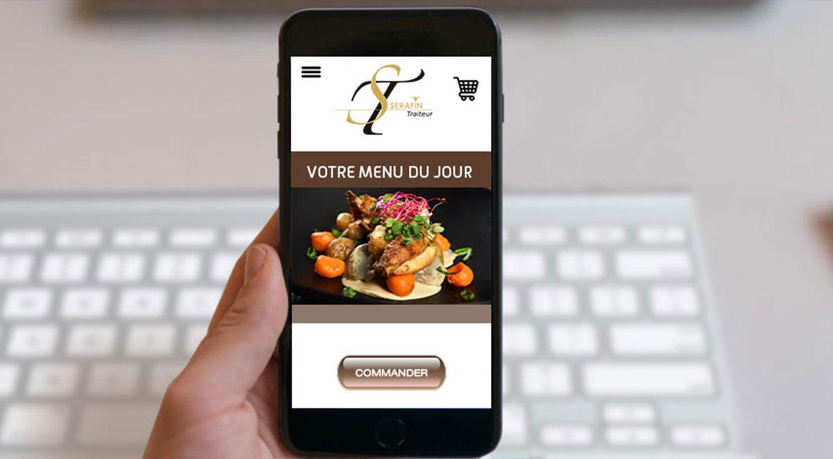 Application mobile pour des achats en ligne chez Serafin Traiteur