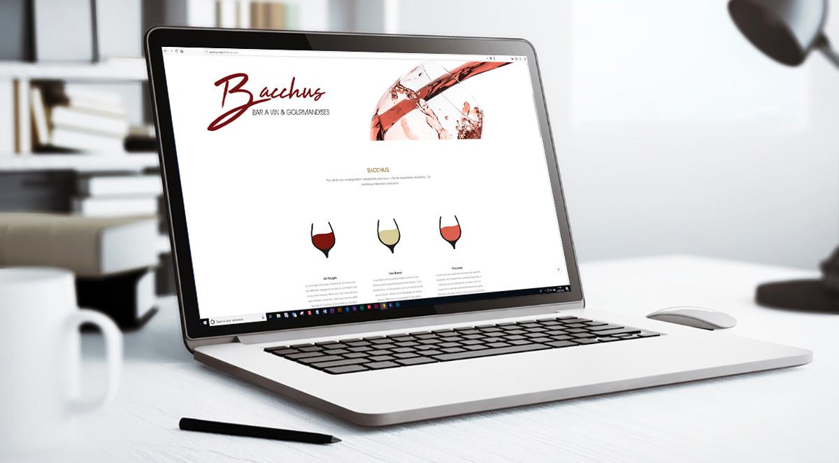 Site vitrine de Bacchus présenté sur un ordinateur